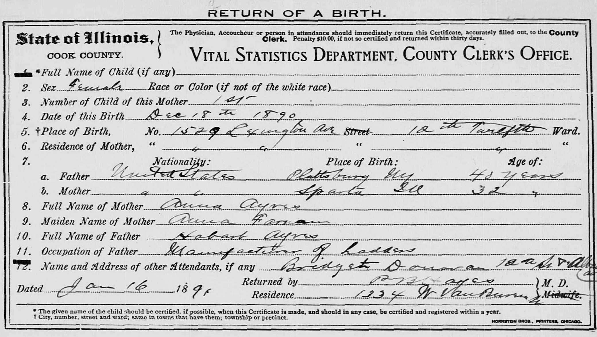 Ayres genealogy her birth certificate xflitez Choice Image